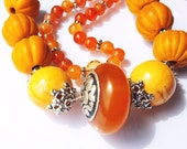 Diy Necklace -Bracelet-Copal Resin Bead -Carved orange Glass Beads,Carnelian beads,findings  lot