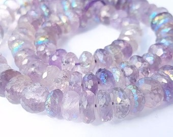 Pink Amethyst Mystic faceted rondelle beads strand,7 inches long.