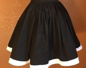Black Elastic Skirt with White Trim