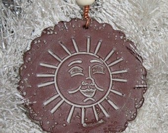 Handmade Ceramic Ornament - Smiling Sun