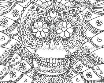 day of the dead sugar skulls printable adult coloring page dia de los muertos - Dia De Los Muertos Coloring Book