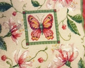 Honeysuckle Butterfly Needlepoint Dimensions kit pillow vintage
