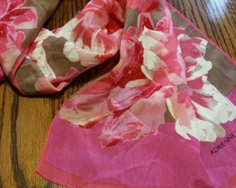 Beyond Lovely Coral Vittadini floral silk scarf vintage