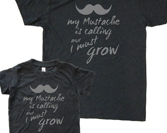 Matching Father Son Shirts, The Mountains are Calling I Must Go Mustache T shirts, Christmas gift, gift for dad from son, father son set