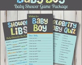 Baby Boy Game Package Set Printable Baby Shower Funky Letters Wishes for Baby Game Celebrity Baby Match Baby Mad Libs - INSTANT DOWNLOAD
