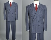 vintage mens 1940s suit • CHALK STRIPE gray wool double breasted suit