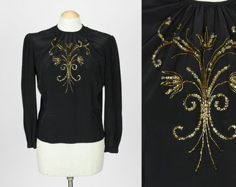 vintage 1940s blouse • beaded sequins black rayon blouse • sz medium