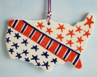 USA America Ornament Hand Painted Red White Blue