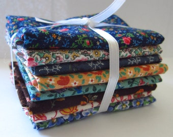 8 Assorted Floral Calico Cotton Fabric Scraps, Fat Sixteenths, Stash Builder, Destash, Quilting, Sewing
