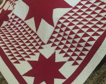 Quilt Red and White Flying Geese with Large Stars Quilt Queen Ready to Ship
