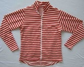 Women's bike jersey in Classic stripe Jacket- Red and White - XS