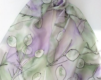 Honesty hand painted silk scarf size 40 x 150cm.  Silk scarves.  Honesty (Lunaria) Scarf