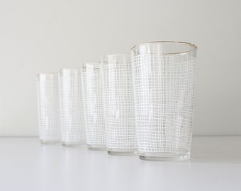 Vintage Mid Century Modern Crosshatch Federal Drinking Glasses