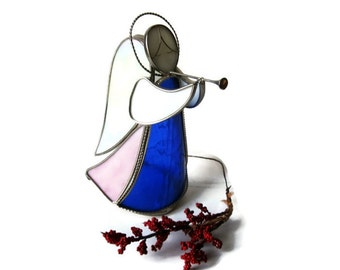 Stained Glass Christmas Angel Figurine Candle Sconce Blowing a Horn
