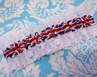 Flag wedding garter - Lace Union Jack British Flag - single Wedding garter - white and Union jack garter - red white and blue garter