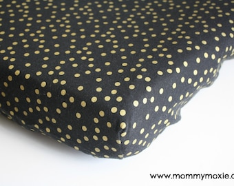 Designer Metallic Gold Polka Dots on Black Changing Pad Cover for the Modern Nursery Changing Table - by Mommy Moxie on Etsy