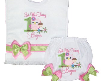 Personalized Diaper Cover Bloomers & Bib Set 1st Birthday Owl