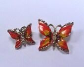 Sale 20 vintage butterfly rhinestone enamel on metal brooch