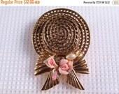 Sale 20 Vintage 1960's gold filigree metal porcelain roses hat brooch pin