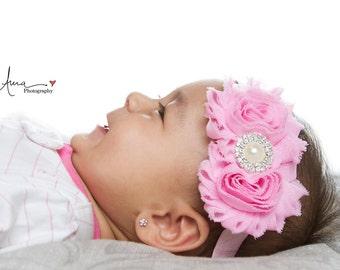 Pink headband, pink baby headband, pink newborn headband, pastel pink headband, vintage headband, pearl rhinestone headband, shabby headband