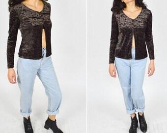 90's BROWN VELVET  Burnt Out Floral Patterned Crop Top. Long Sheer Sleeves. 90's GRUNGE Mod Vintage.