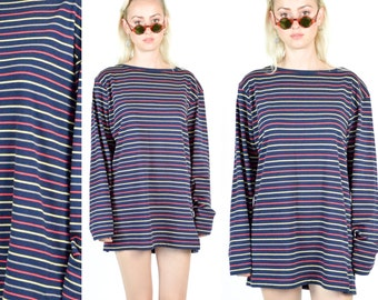 70's Color Stripe CHRISTIAN DIOR Crewneck Top. Navy Blue Stripe Sweater. Vintage Dior. Oversized T Shirt Dress. 90's Mod Minimalist Size S/M