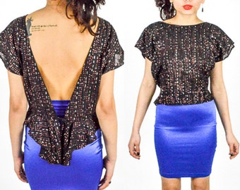 70's 80's BLACK OPEN BACK Cropped Blouse. Peplum Waist. Capped Sleeves. 70's Disco Glam Punk