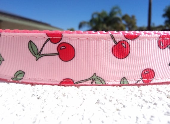 "Girl Dog Collar Pink Cherries 1"" wide Quick Release collar adjustable - martingale collar style is cost upgrade option"