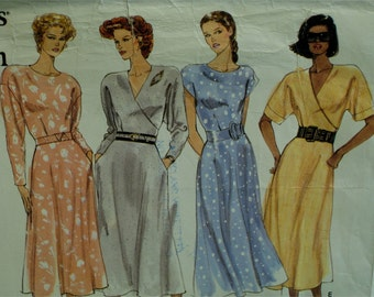 Fitted Bodice Dress, Wrap Top, 3 Necklines, Flared Skirt, Belted, Cap/Long/ Short Sleeves, Vogue No. 2441, UNCUT Size 8 10 12