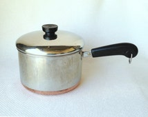 Vintage Revere Ware 3 Quart 1801 Copper Clad Stainless Steel Covered Saucepan circa 1981 Made in Clinton Illinois USA