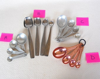 Choice of Vintage Stainless, Coppertone or Brushed Aluminum Measuring Spoons Pink Aluminum Measuring Spoons Brushed Aluminum Round or Oblong