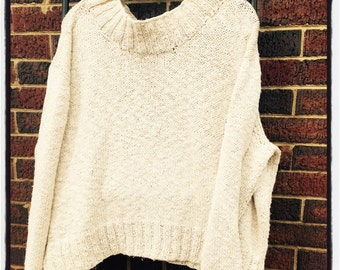 Oversized organic cotton high neck sweater