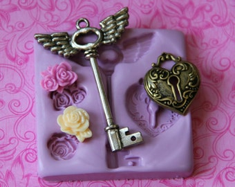 Silicone Key Mold Flower Molds Heart Key Lock Silicone Mold Flower Rose Fondant Clay Resin Wax Soap Embed Mould