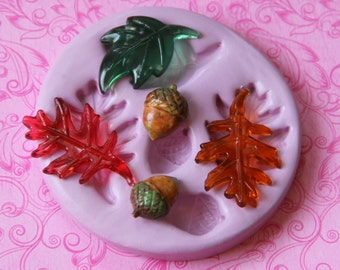 Autumn Leaf Silicone Mold Acorn Fall Fondant Cupcake Topper Soap Embed Polymer Clay Resin Wax Mold