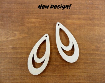 "20 Teardrop Earring Shapes 2"" H x 15/16"" W x 1/8"" Unfinished Laser Cut Wood Pendant Jewelry Making"