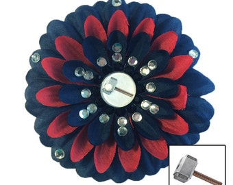 Thor's Hammer Mjolnir Red and Navy Blue Penny Blossom Rhinestone Flower Barrette