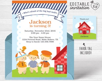 Three Little Pigs INSTANT DOWNLOAD Editable Invitation /Three Little Pigs Invitation /Three Little Pigs Party/ Three Little Pigs /Pigs Party