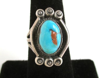 Native American Blue Turquoise & Sterling Silver Ring - Vintage Southwestern, Size 6