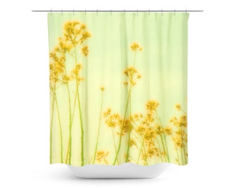 Shower Curtain - Flowers Decor - Spring Photography - Art Bathroom Decor - Abstract Home Decor - Floral Photograph - Mustard Yellow Green