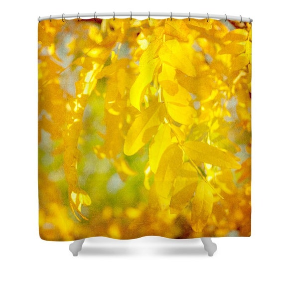 nature shower curtain mustard yellow decor by
