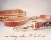 Dog Collar and Leash - Leather Dog Leash in Custom Length Braided Leather Leash in Brown or Chestnut Tan Leather Dog Leash Set Lead