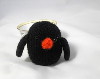Hand Knit Bird. Black Bird. Raven. Crow. Baby Bird. Woodland Plushie. Pretend Play. Stuffed Bird Toy. Ready To Ship. Gifts Under 10