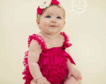 Baby Romper, Hot Pink Romper and Headband, Lace Romper, Photo Prop, 1st Birthday Outfit, Petti Romper, Ruffle Romper with Headband,