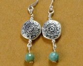 Southwest Silver Earrings/Faceted Gemstone Earrings/Blue Stone Earrings