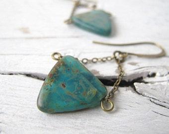 Bohemian Earrings, Czech Picasso Glass,  Beach Style, Boho Chic Dangles, Nautical Vibe, Ocean Blue Jewelry, Antique Brass