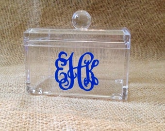 Monogram Bathroom Container - Clear Acrylic Box with Lid - Personalized Catch All