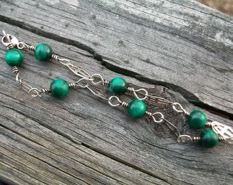 Gorgeous Vintage Sterling Silver Green Malachite Bead 7.5 inch Bracelet