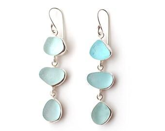 Pale Blue Sea Glass Three Drop Silver Earrings Bezel Set