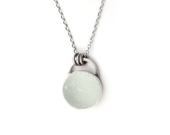 Palest Green Half-Marble - English Sea Glass and Sterling Silver Necklace