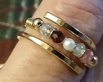 14K Gold Filled Open Cross-Band Mothers Ring Personalized With Up To 5 Genuine Gemstones